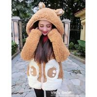áo khoác lông tai gấu Mã: AO1921 - NÂU