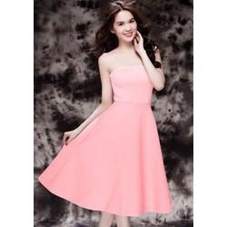 Hàng thiết kế - Đầm hồng xòe cúp ngực Ngọc Trinh D092