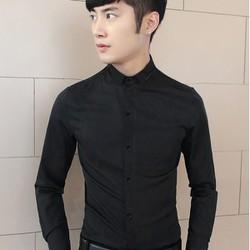 Aó sơ mi nam màu đen trơn vải đẹp dành cho phái mạnh lịch lãm