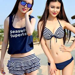 Bikini 4 mảnh váy sọc thủy thủ