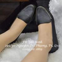 Giày mọi viền dây khóa màu đen-GX165