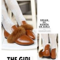 Giày búp bê viền lông