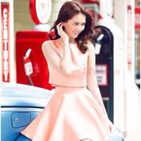 Set croptop + chân váy pastel Ngọc Trinh