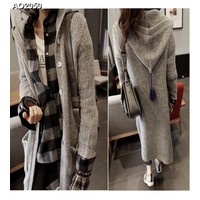 Áo khoác len phối nón form dài Mã: AO2050