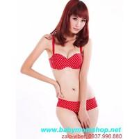 Hàng so hot : Bộ đồ lót nâng ngực Su Korea chấm bi tim  DLTT63