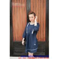 Shop bà bầu : Đầm bầu thời trang hàn quốc phối viền ren  DB309
