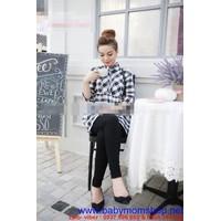 Shop bà bầu : Đầm bầu sọc caro trắng xanh đẹp , cá tính DB315
