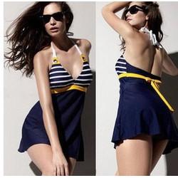 DB026-Đồ bơi,bikini váy sọc hải quân gợi cảm