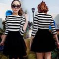 Đầm sọc chân váy đen - 1205