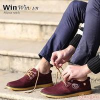 C5Shop - Giày Oxford Da Lộn D18 đỏ đô tag Versace