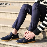 C5Shop - Giày Oxford Da Lộn D18 xanh đen tag Versace