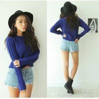 Áo len dệt kim nữ dài tay dáng mới, thiết kế thuần màu giản dị-A2428