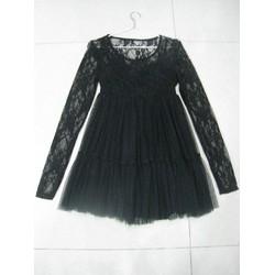 Đầm ren đen phối lưới dáng xòe phồng