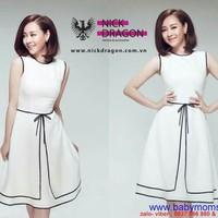 Đầm xòe chữ A thiết kế viền đen cực xinh như Helen Thanh Thảo DXV746