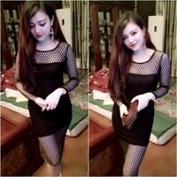 Đầm đen body tay dài phối lưới