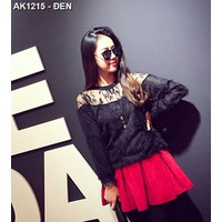 Áo len lông phối ren tay dài Mã: AK1215 - ĐEN