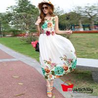Đầm Maxi họa tiết hoa xanh