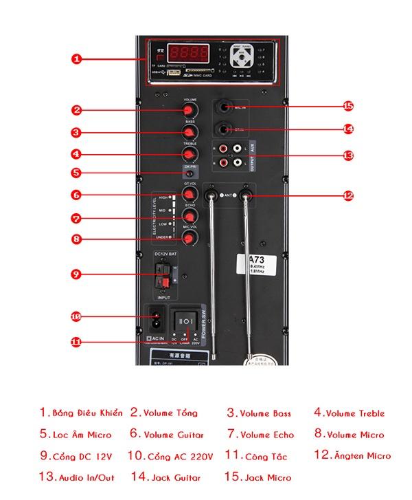 Loa Kéo Di Động Feiyang A73 2 Loa Bass 13
