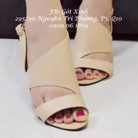 Giày cao gót hở mũi quai cắt xéo kem-GX173