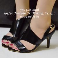 Giày cao gót hở mũi quai cắt xéo đen-GX172