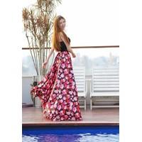 Bộ áo cúp ngực và chân váy maxi hoa màu sắc rực rỡ #259