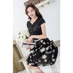 Mã số 580131 - Váy xòe thêu hoa nổi hàng nhập