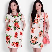 Đầm Xuông Hoa Phối Nơ LD0044