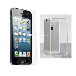 Miếng Dán Cường Lực Và Ốp lưng Silicon Dẻo trong suốt Cho iPhone 5-5S