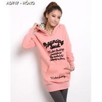 Áo hoodie form dài bauncing Mã: AD747 - HỒNG