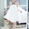 Đầm xòe cúp ngực trắng thiết kế viền đen dây chéo thời trang DCC89