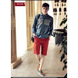 Quần short kaki nam màu đỏ đô