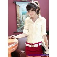 Áo sơ mi nữ vải nhung hàng cao cấp có 2 màu hàng mới AMS141