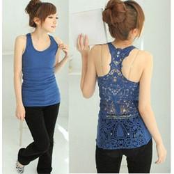 Áo thun nữ ba lỗ, lưng phối ren gợi cảm,phong cách Hàn Quốc-A2257