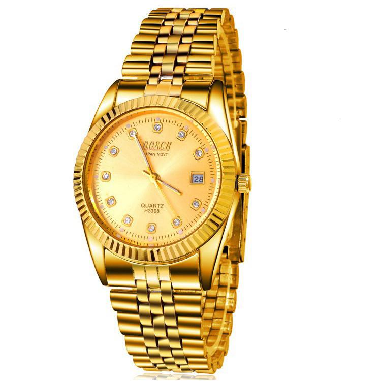 Đồng hồ nam cao cấp mạ vàng đính đá, chống thấm chống nước Bosck Japan 2