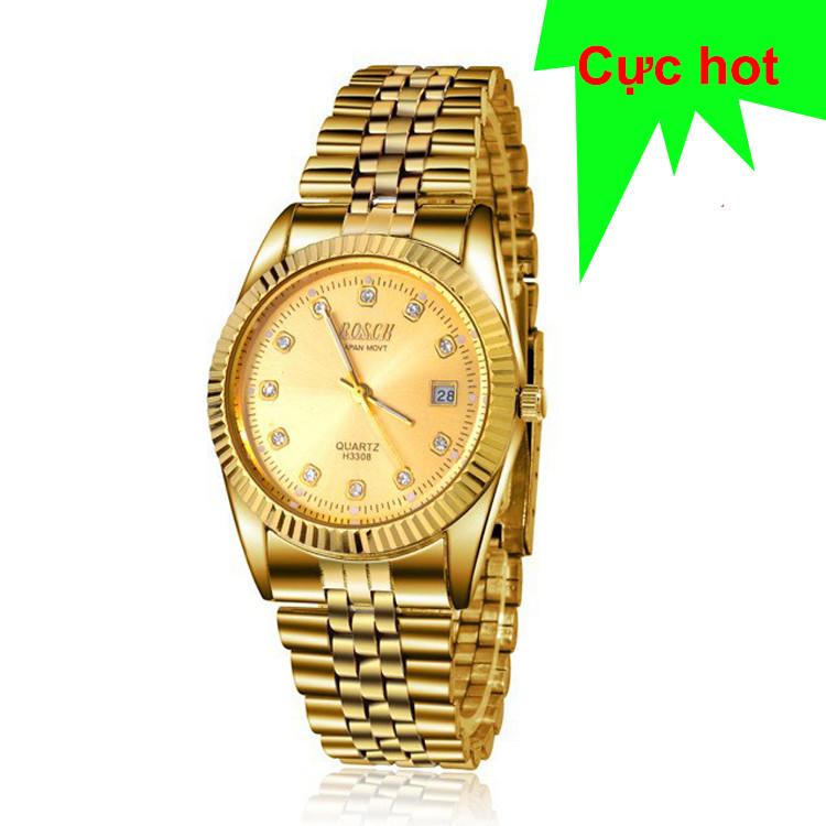 Đồng hồ nam cao cấp mạ vàng đính đá, chống thấm chống nước Bosck Japan 3