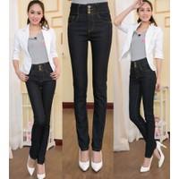 Quần Jeans nữ dáng bút chì, cạp cao 3 cúc, phong cách Hàn Quốc-Q350