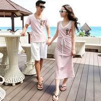 Bộ áo váy dài maxi cặp đôi họa tiết sọc logo duyên dáng-C054