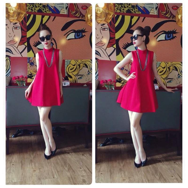 Đầm xòe hồng cổ lọ - Z0042 1