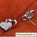 Bông tai bạc hình trái tim đôi
