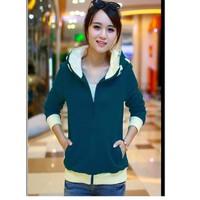 Áo khoác Nữ phối chữ cổ áo F0186GAKA057 - Nỉ - Xanh lá - Việt Nam