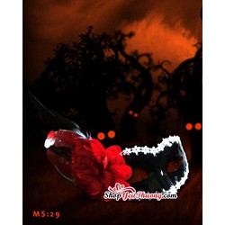 Mặt nạ Halloween - Mặt nạ hóa trang Hoa hồng Đỏ