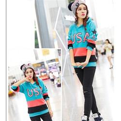 Áo thun hoodie phối màu usa Mã: AX2242 - XANH