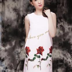 Đầm trắng from suông hoa hồng DM120