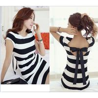 Đầm nữ ngắn tay thiết kế sexy, kẻ sọc 2 màu tôn dáng, trẻ trung-D2918
