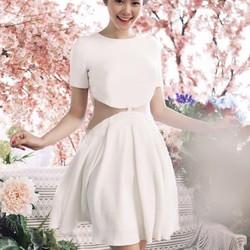 Đầm trắng xòe xếp ly phối lưới DM118