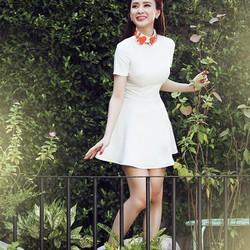 Đầm trắng xòe tay con dễ thương DM111