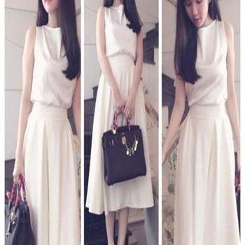 Set bộ áo phi bóng và chân váy xòe xinh Ngọc Trinh DV568