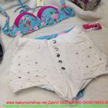 Quần short nữ 5 nút có đính hạt thời trang sành điệu QS48