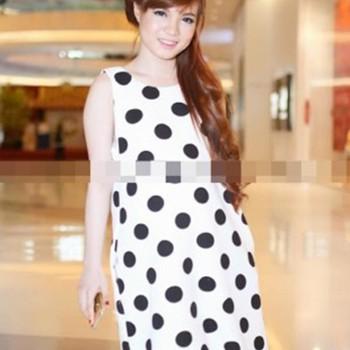 Đầm bầu Hàn quốc dạng suông chấm bi đẹp ,cá tính DB271