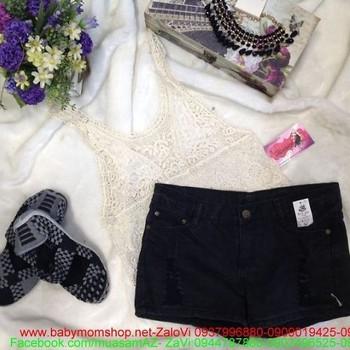 Quần short jean nữ đen xước cá tính thời trang QS43